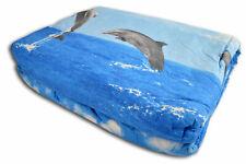 QUILT TRAPUNTINO ESTIVO Matrimoniale 260x270 cm Delfini Delfino Mare Onde Blu Az