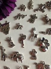 20 ANIMAL Mixed charms Tiger Monkey Pig Cow Vintage Silver Tone Great Mix UK