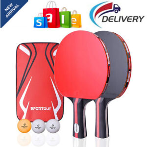 Table Tennis Racket Ping Pong Paddle Set with 2 Bats and 3 Ping Pong Ball Case