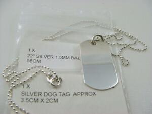 New 925 Sterling Silver dog tag 3.5cm X 2cm identity with 22ins ball chain.