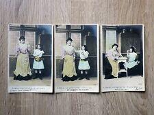 3x CPA CARTES POSTALES POSTCARDS 1905 La Servante et l'enfant