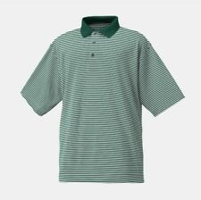 FootJoy Lisle Feeder Stripe Knit Collar FJ Hunter White Men's Size L Golf Green