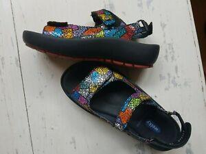 WOLKY Damen Schuhe Leder Sandalen mit Fußbett bunt Größe 38