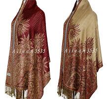 Triple Layer Pashmina & Silk PaisleyShawl-Burgundy#D