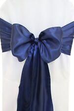 "100 Navy Blue Satin Chair Cover Sash Bows 6"" x 108"" Banquet Wedding Made in Usa"