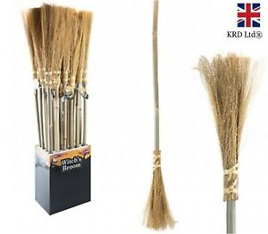 TRADITIONAL BROOM Besom Witches Broomstick Halloween Fancy Dress Trick Treat UK
