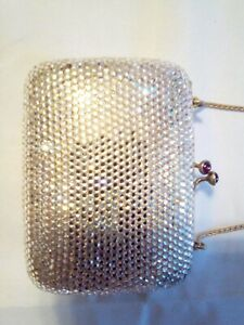 Auth Judith Leiber Silver Swarovski Crystal Box Clutch Bag w red stones