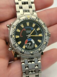 Vintage Yema Yacht-master quartz watch works and keeps time 36mm excluding crown