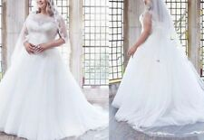 New Plus Size Lace Tulle Scoop Neck A-line Wedding Dress Bridal Gown Custom size