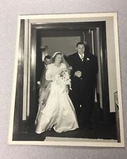 Vintage Wedding Church Photo Man And Woman Father And Bride Black And White