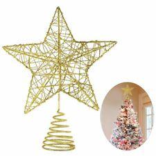 5 Point Star Tree Topper Decor Golden Glitter Powder Christmas Home Decoration