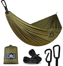 NEW Portable Ultralight 100% Parachute Nylon Travel Camping Hammock ARMY GREEN