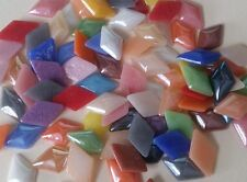 50 Rhombus Cabochons Flat Back Glass Cabochons 12mm Assorted Pearlised Colours