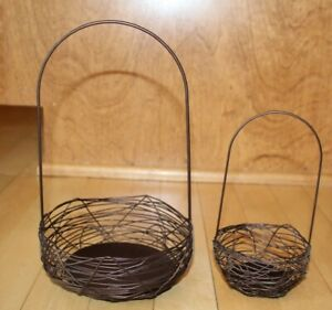 Crate & Barrel Wire Basket Easter Copper Brown