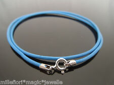 """2mm Mid Blue Leather & Sterling Silver Necklace Or Wristband 16"""" 18"""" 20"""" 22"""""""