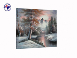 SNOW-COVERED TREES AND MOUNTAIN BY THE LAKE OIL PAINTING NATURALISM LANDSCAPE