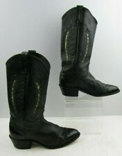Ladies Dan Post Black Leather Western Cowgirl Boots Size: 7.5 M