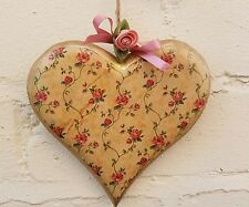 Wooden hanging Decorative heart.Dusky pink flower pattern.Satin Rose 14.5cms