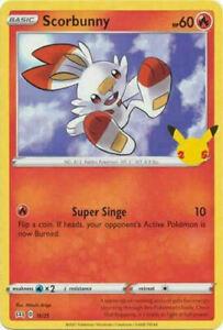 Scorbunny 16/25 Non Holo McDonalds 25th Anniversary Promo Pokemon Card - MINT