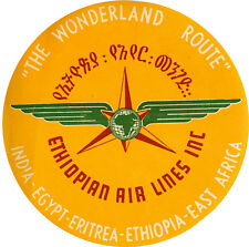 Ethiopian  Airlines Africa   1950's  Vintage Style  Travel Decal  Sticker Label