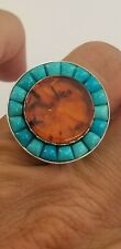 Jay King DTR 925 Sterling Silver Genuine Baltic Amber and Turquoise Ring Sz 8