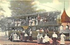 Chautauqua Ny Jamestown to Celeron Double Decker Bus Postcard