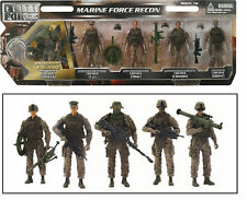 "5 Marine Action Figures 1:18 Scale Toy Soldiers Elite Force with Weapons 5"" Tall"
