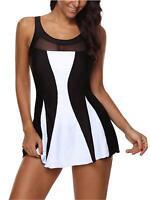 Zando Women One Piece Swimdress for Grils Tummy Control Swim, Black, Size 10.0 Q