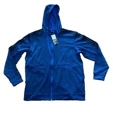 Adidas Mens Active Tech Fleece Hoody 3-Stripe Blue Black Stripes Full Zip Sz L