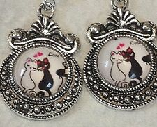 ELEGANT Victorian CATS Hearts & Love Dangle EARRINGS 925 STERLING Silver Wires