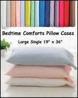 "1 X 3' SINGLE BOLSTER PILLOW CASE 200 Thread Count  (19"" x 36"")  OVER 20 COLOURS"