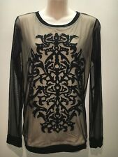 Next UK Black Nude Mesh Long Sleeve Round Neck Top Size UK 16 Fit AU 14 16