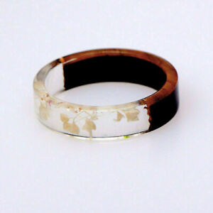 New Resin Wooden Flower Plants Novelty Ring Handmade Ring Wood Anniversary Gifts