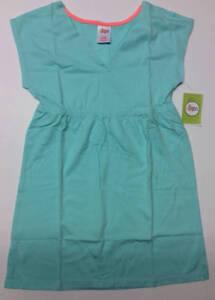 CIRCO Little Girls Medium M 7/8 Aqua Knit V-Neck Dress Surplice Bodice
