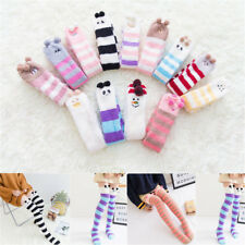 Winter Warm Coral velvet Striped Knee Thigh High Thick Stockings Animal Socks