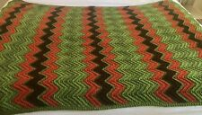 Handmade Afghan Throw Blanket  Red Green Brown  42 X 57 inches