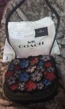 NWT Coach Tea Rose Applique Leather Flower Saddle 23 Crossbody Bag 38195 RARE