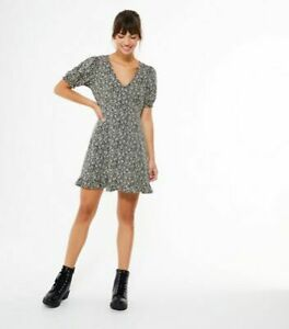 New Look Black Crème Floral Jersey Puff Tea Dress Size UK 8 New Free P&P