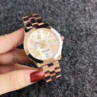 New Women's Dress Stainless steel Jewelry Watches Bear Quartz Wrist Watch