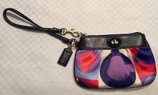 Coach Wristlet Poppy Wallet Coin Purse Purple Blue Red Turn Lock Signature