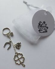 GOOD LUCK keyring - charm Keepsake Clover Horseshoe gift friend retirement