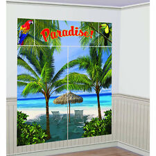 Palm Trees Scene Setter Paradise Wall Decoration Poster Luau Beach Party Supply