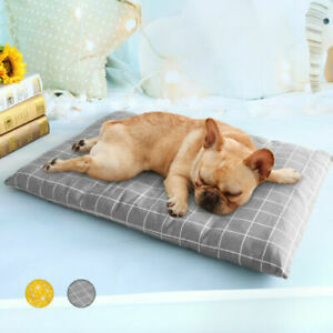 Dog Sleeping Bed Soft Cotton Cushion Indestructible Mat Grey Kennel Crate S-XL
