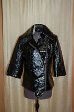 NWT Tulle Black Fake Leather Shiny Jacket Zip Closure Size S 3/4 Sleeves