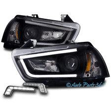 11-14 DODGE CHARGER (HID MODEL) LED PROJECTOR HEADLIGHT BLACK LAMP W/BUMPER DRL