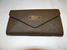 DKNY SAFFIANO LEATHER ENVELOPE WALLET DARK KHAKI MSRP 105.00