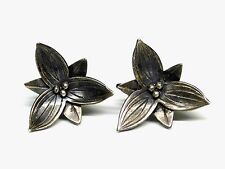 Older Vintage Sterling Silver Spring Summer Flower Screw Back Earrings