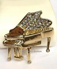 Gold Crystal Grand Piano Pin Brooch Plated Musician Music Teacher Gift Usaseller