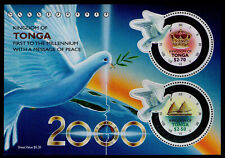 TONGA, SCOTT # 1030-1031A, SOUVENIR SHEET OF FIRST TO THE MILLENIUM, DOVE, PEACE