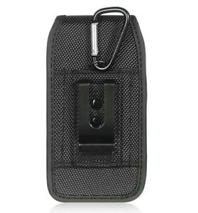 iPhone 5 SE 5C 5S - VERTICAL BLACK Nylon Fabric Pouch Holder Holster Clip Case